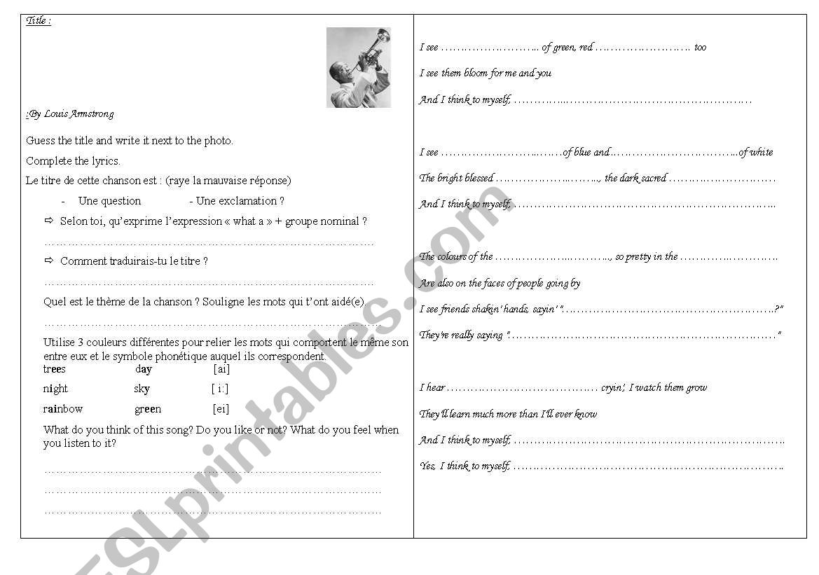 English Worksheets What A Wonderful World By Ray Charles