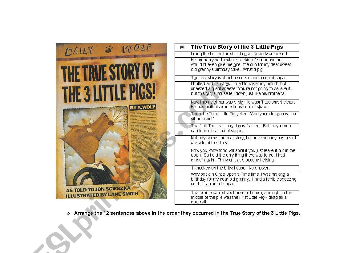 The True Story Of The Three Little Pigs Worksheet