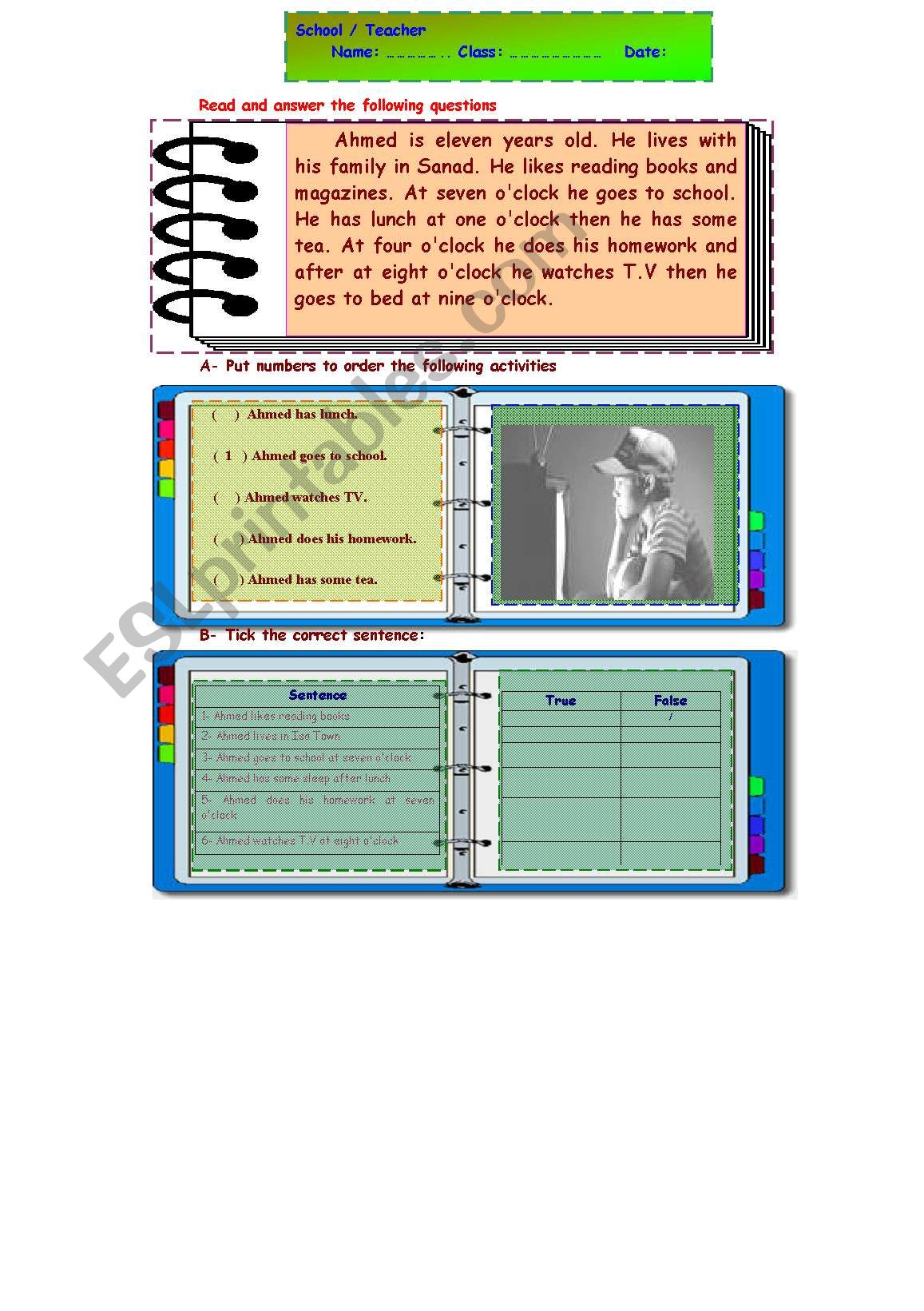 English Worksheets Reading For Gist