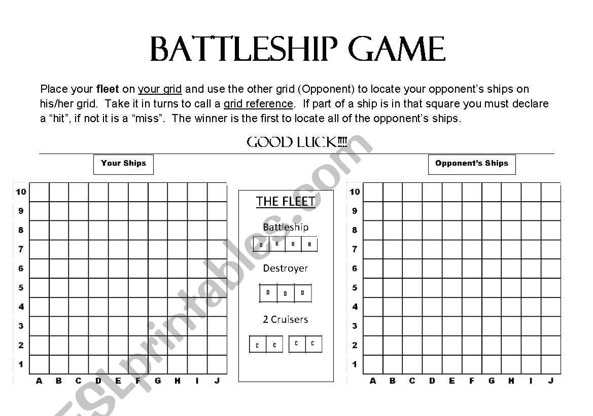 English Worksheets Battleship Game