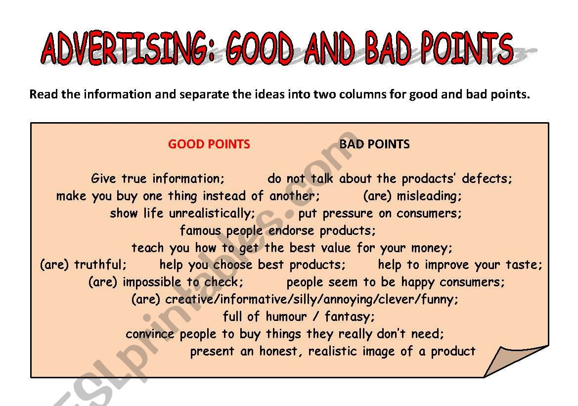 Advertising Good And Bad Points