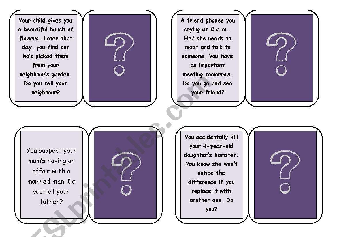 English Worksheets Moral Dilemmas Game