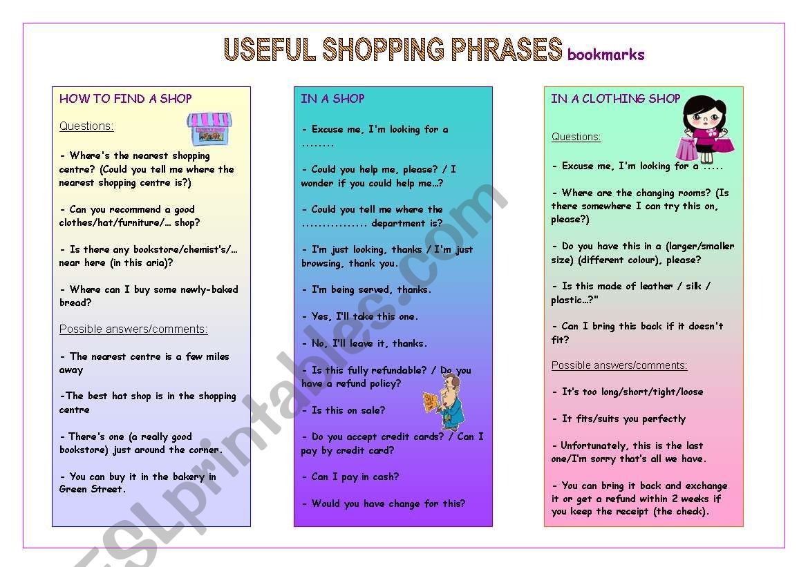 Useful Shopping Phrases Bookmarks