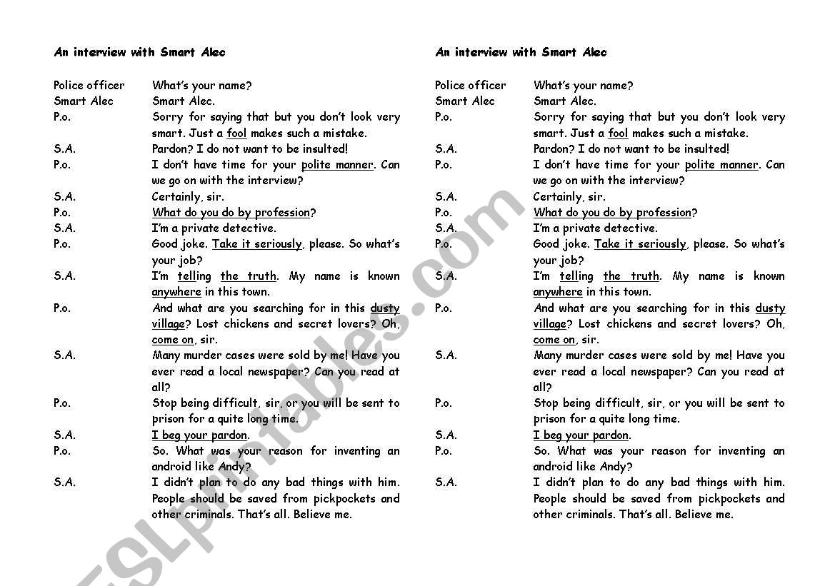 English Worksheets An Interview With Smart Alec
