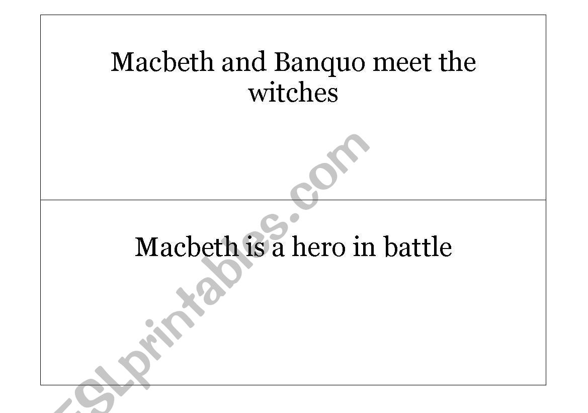 English Worksheets Macbeth Put The Act I Events In