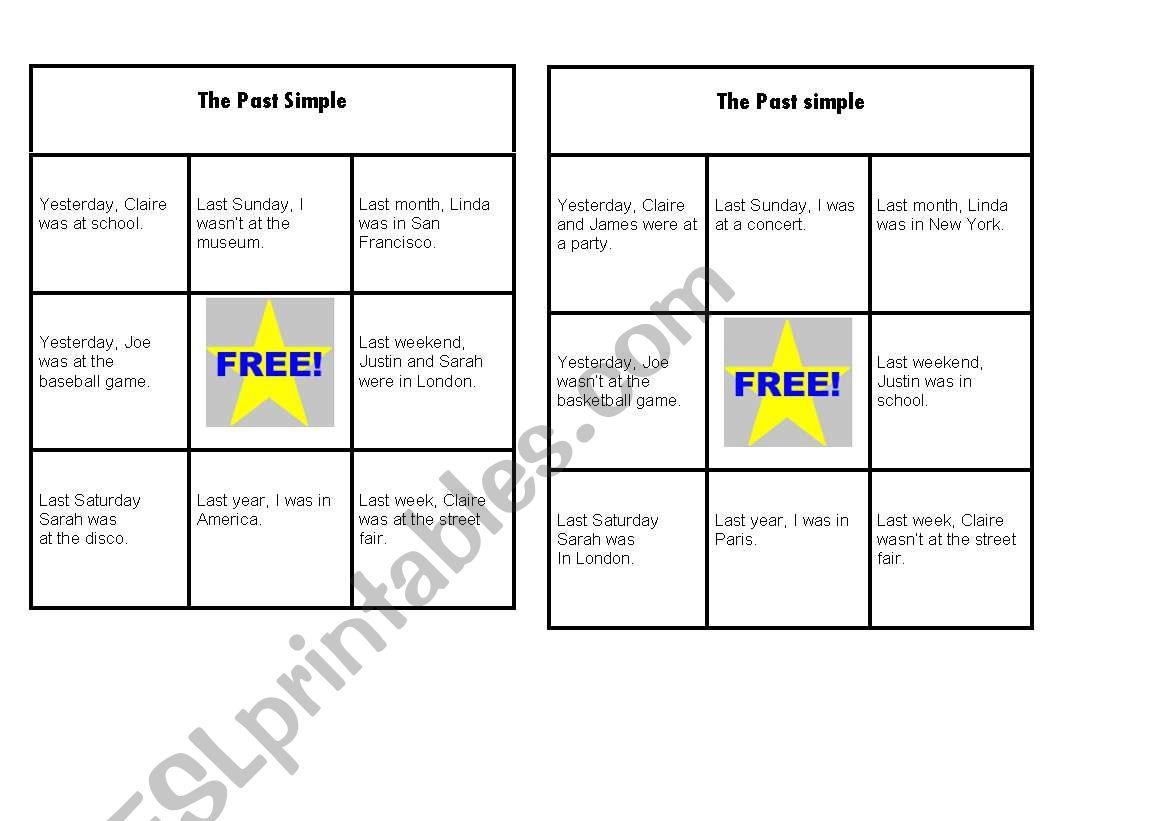 The Past Simple Bingo