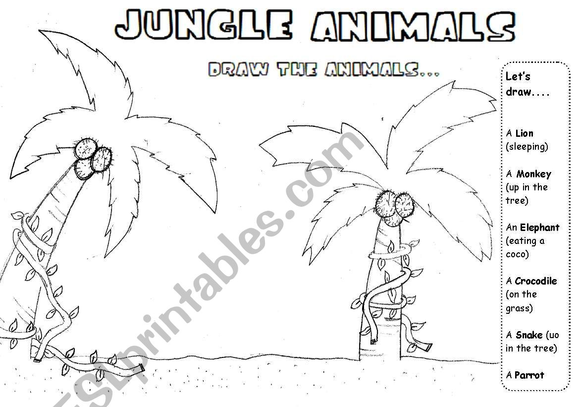 Jungle Animals Drawing Dictation Reading Activity