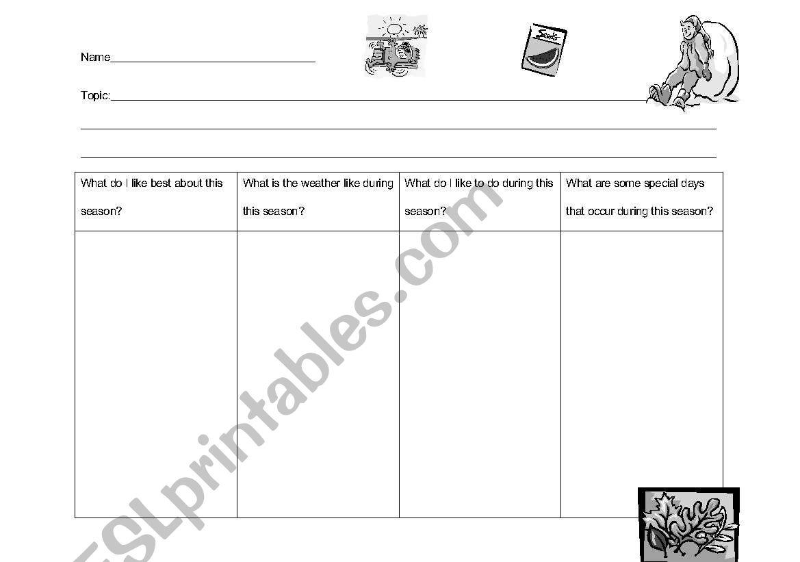English Worksheets My Favorite Season Graphic Organizer
