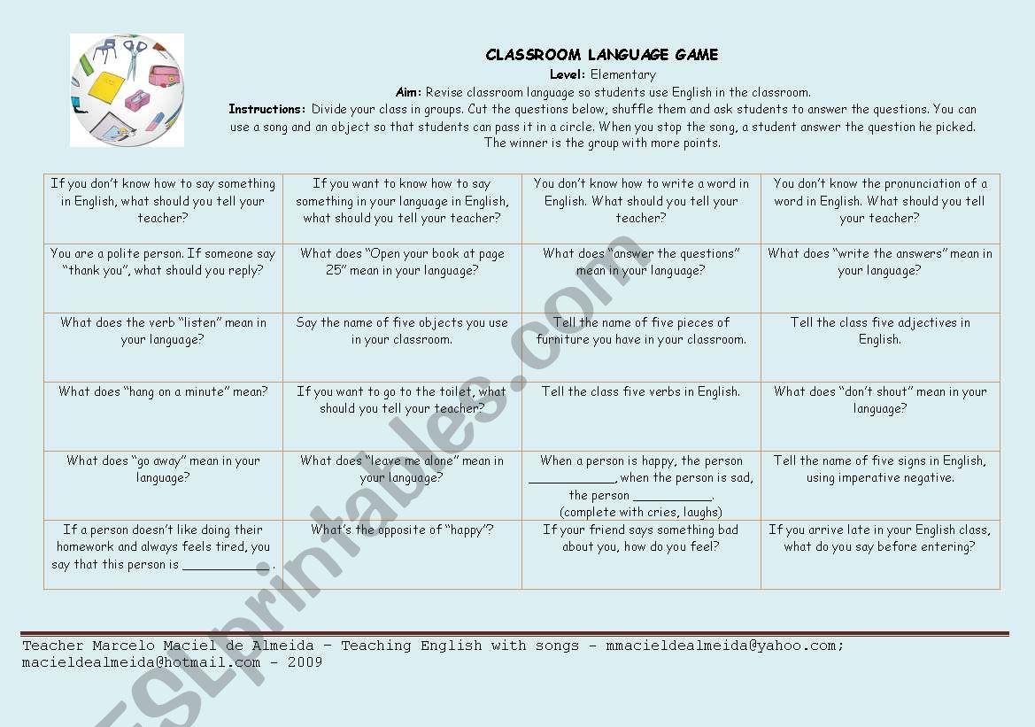 Classroom Language Game