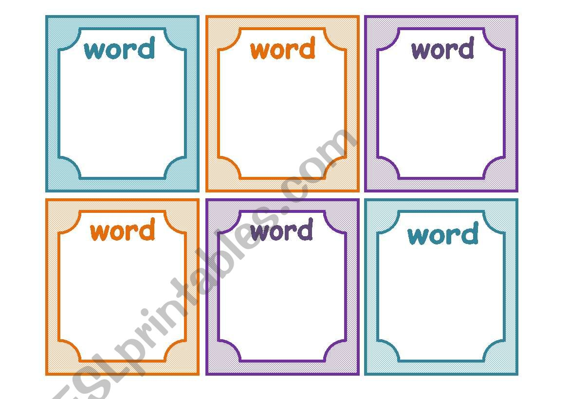 English Worksheets Flashcards Template