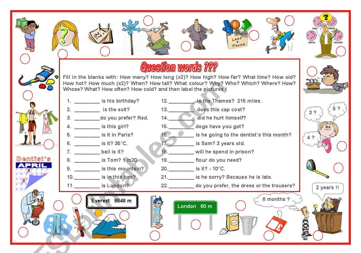 Question Words Exercise And Labelling Worksheet Editable