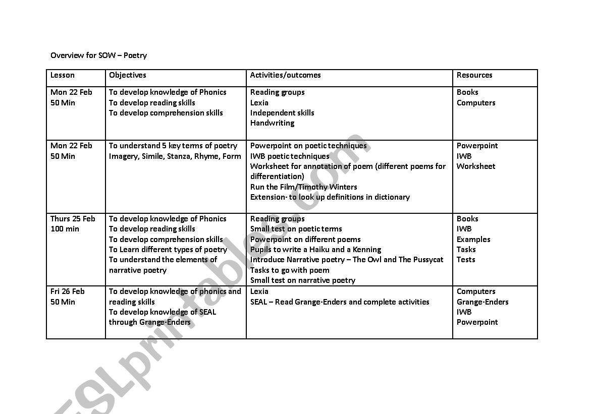 English Worksheets Narrative Poetry Sow