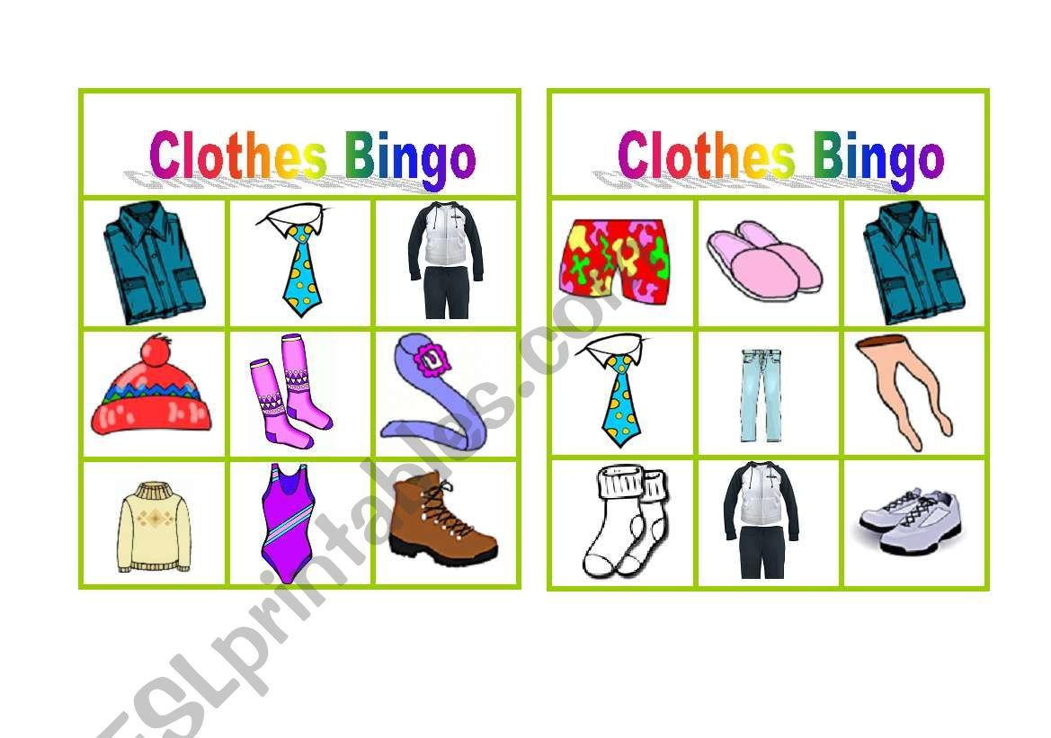 Clothes Bingo Worksheet 2
