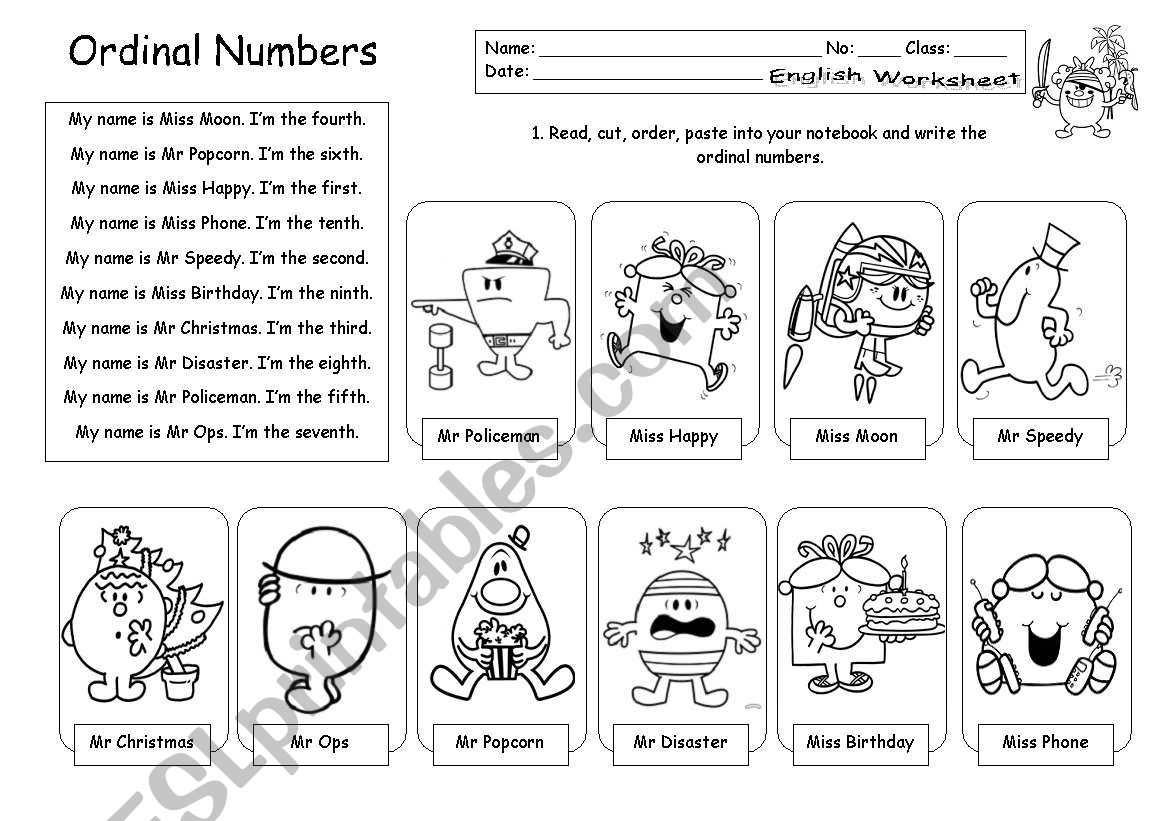 Ks1 Ordinal Numbers Worksheet