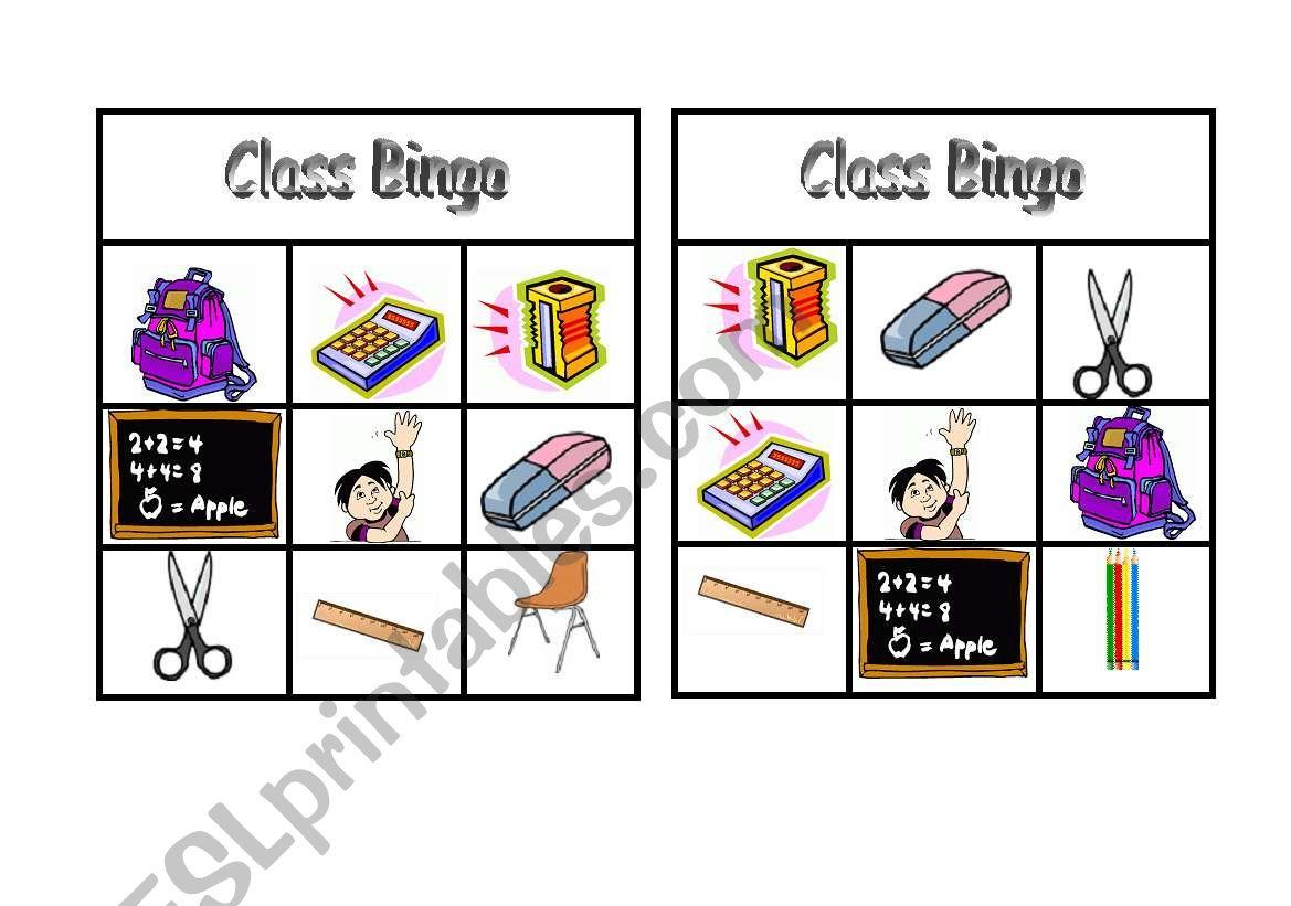 Class Bingo Practising Classroom Vocabulary Doc1