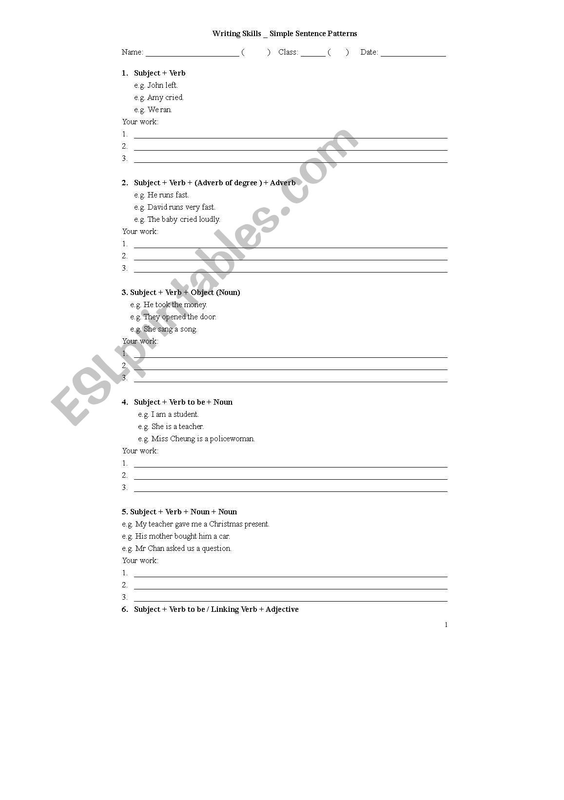 English Worksheets Simple Sentence Patterns