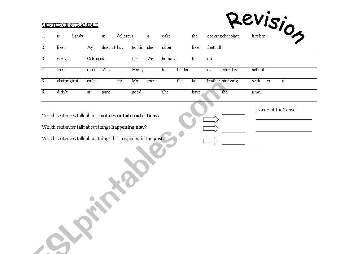 English Worksheets Sentence Scramble