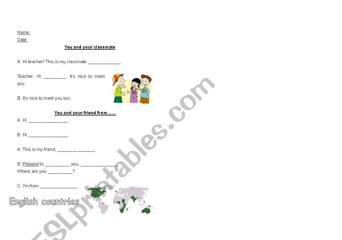 English Worksheets Introduce Your Classmate Or Friend