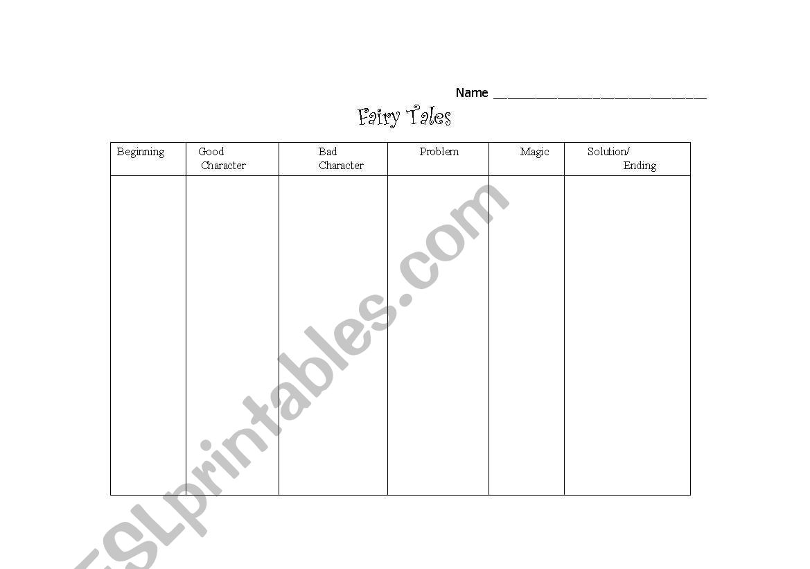 English Worksheets Fairy Tale Graphic Organizer