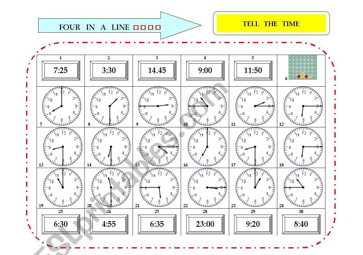Four In A Line 3 Tell The Time Game