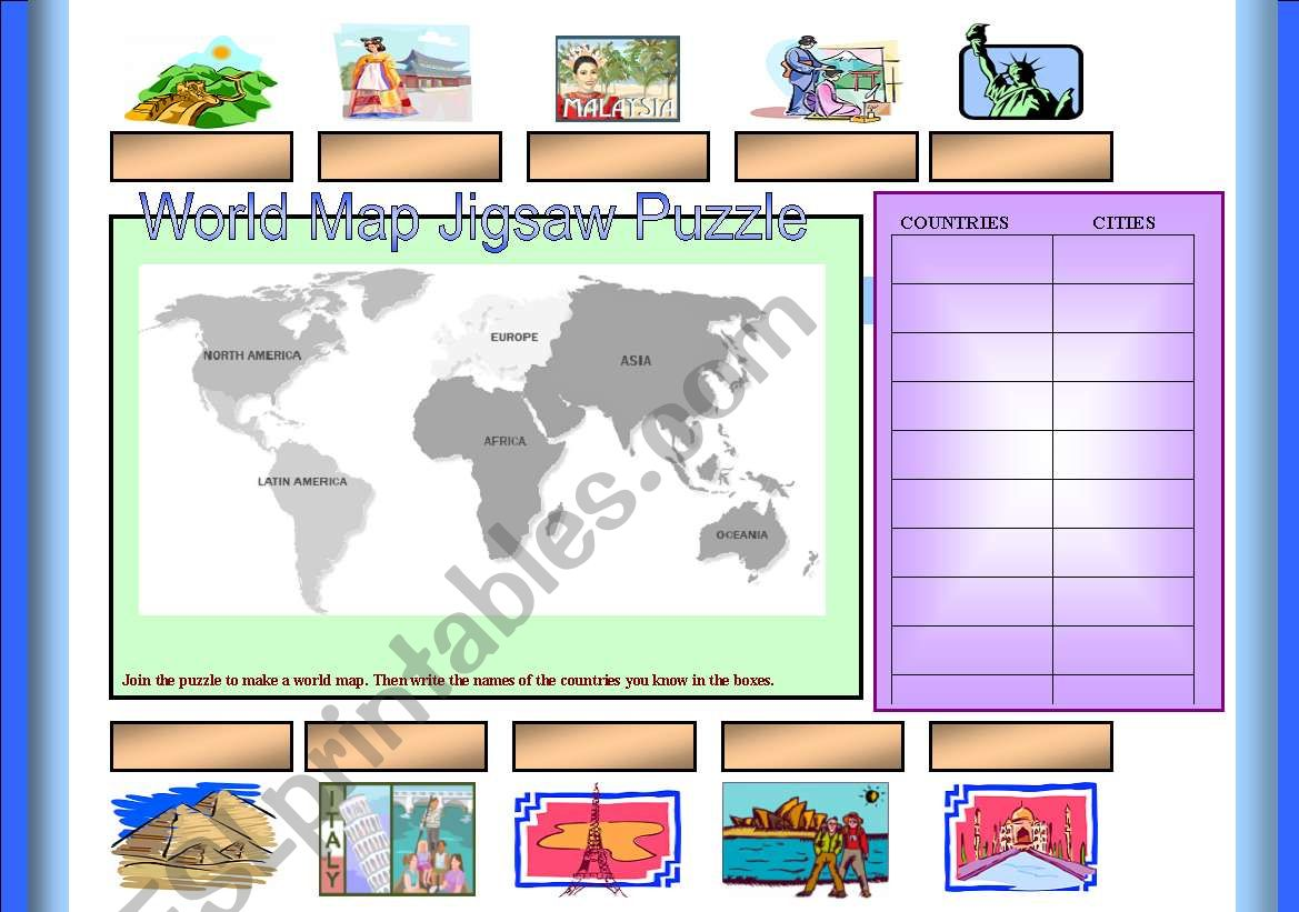Jigsaw World Map Puzzle Cut Amp Paste 2 Pages Included The Jigsaw Pieces