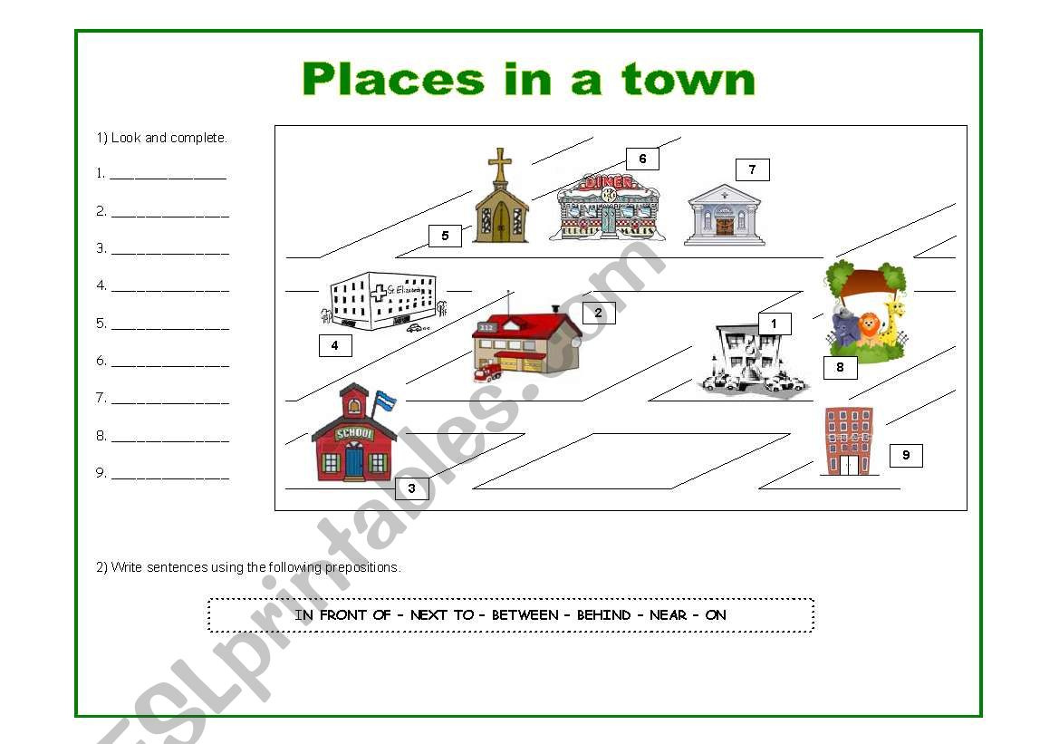 Prepositions And Places In A Town