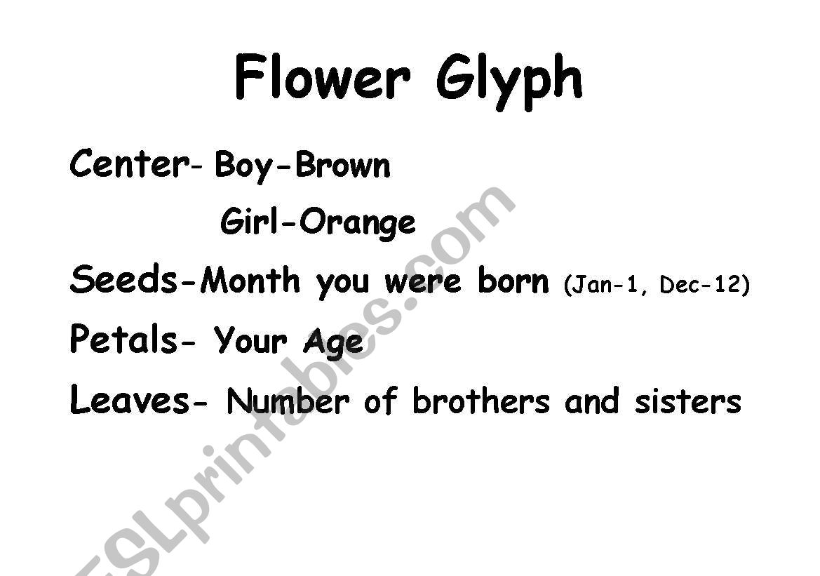 English Worksheets Flower Glyph