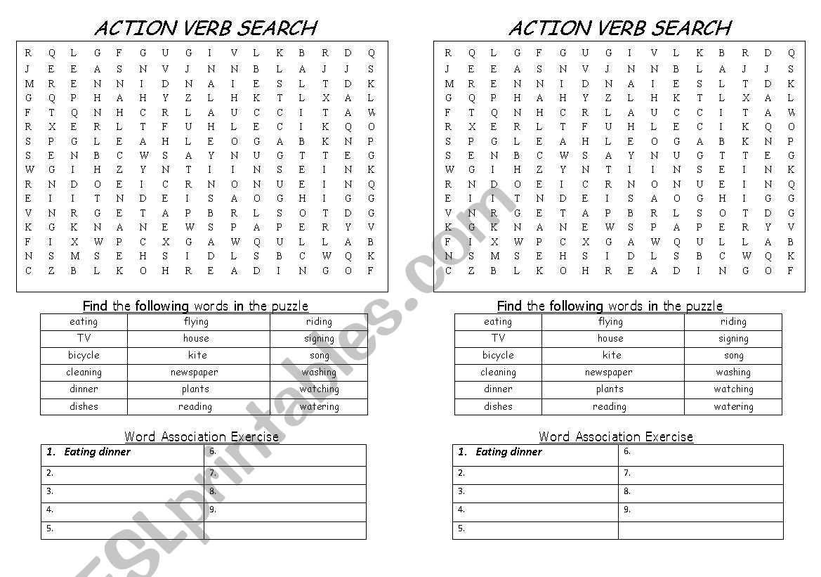 English Worksheets Action Verb Word Search