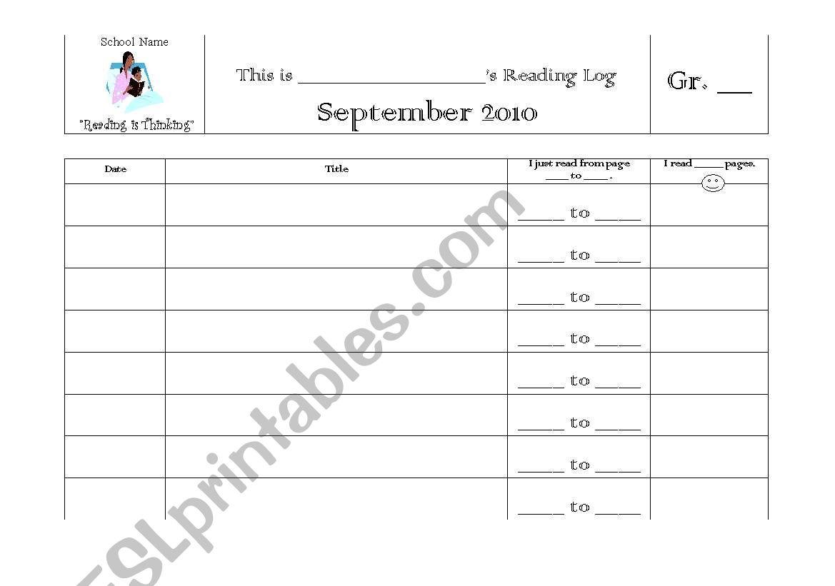 English Worksheets Individual Reading Log