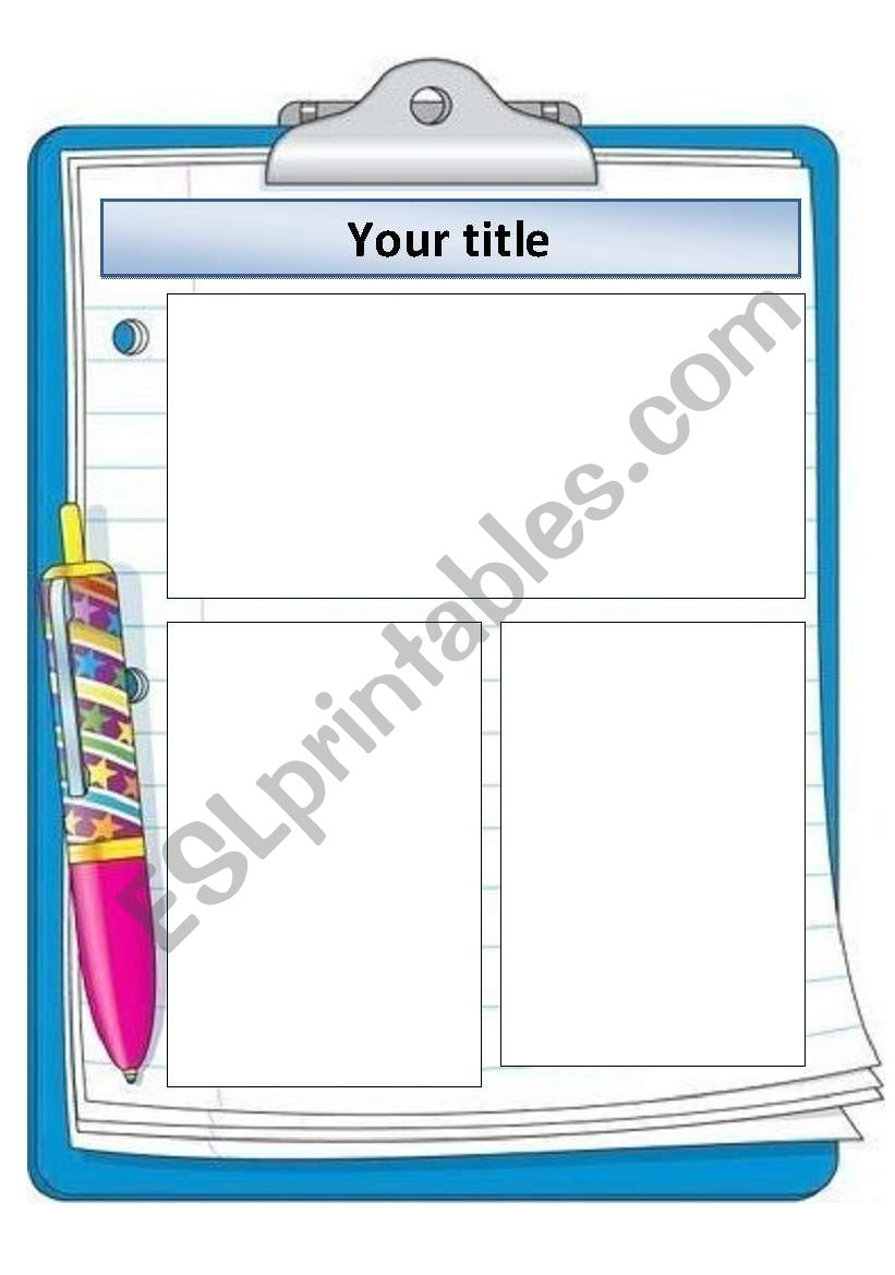 English Worksheets Clipboard Template