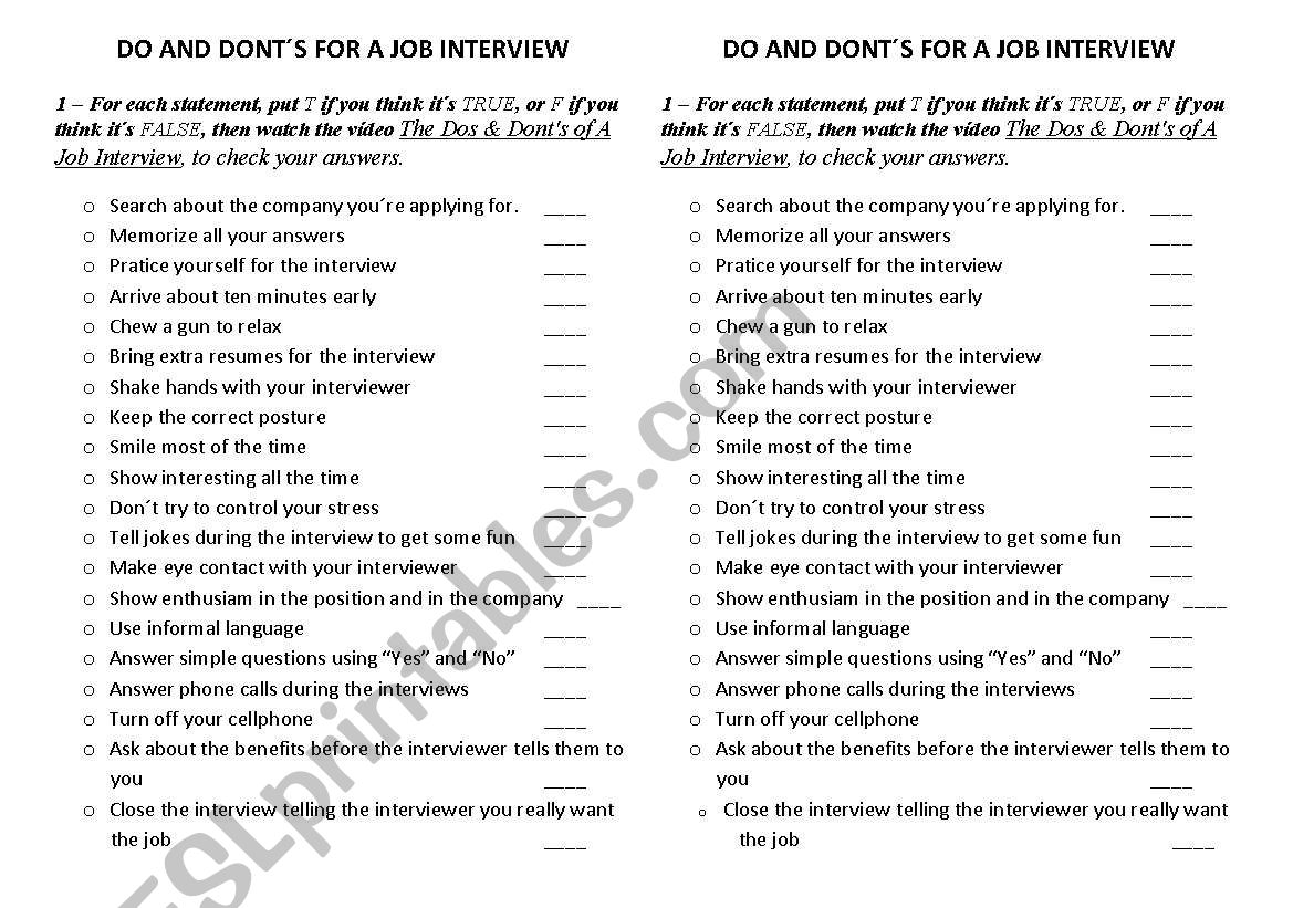 Do And Dont S In A Job Interview