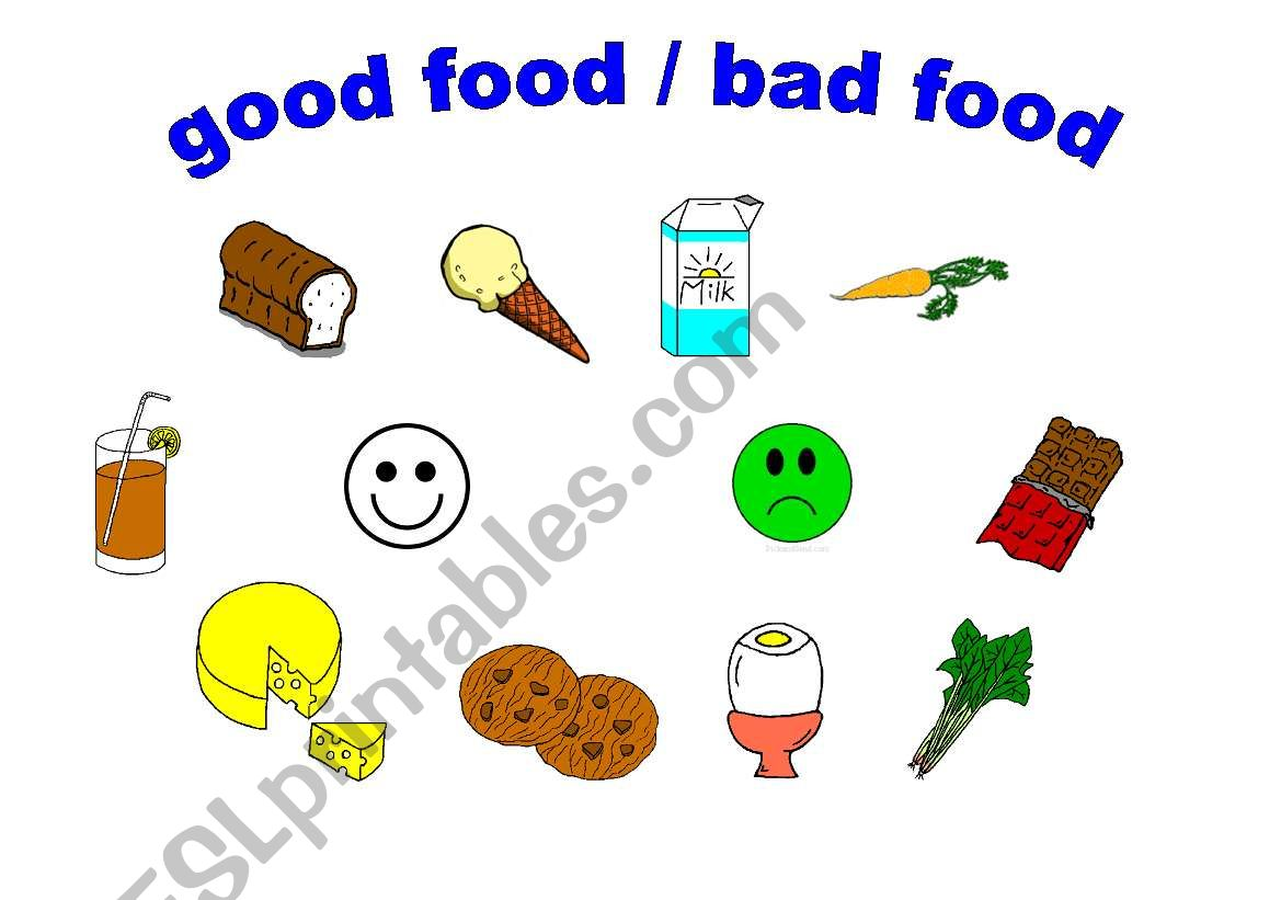 English Worksheets Good Food Bad Food