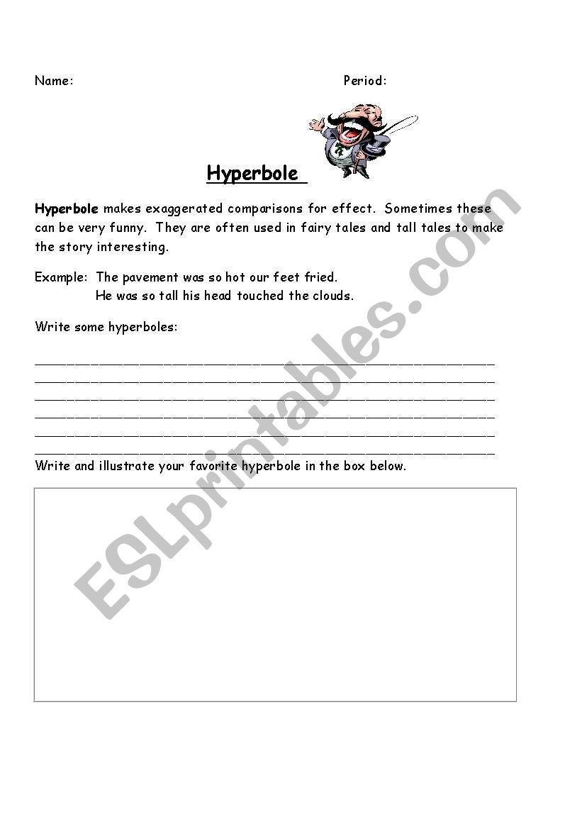 English Worksheets Hyperbole