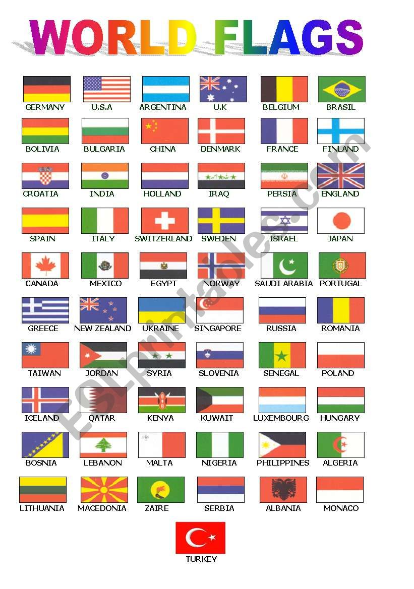 World Flags For Class Board