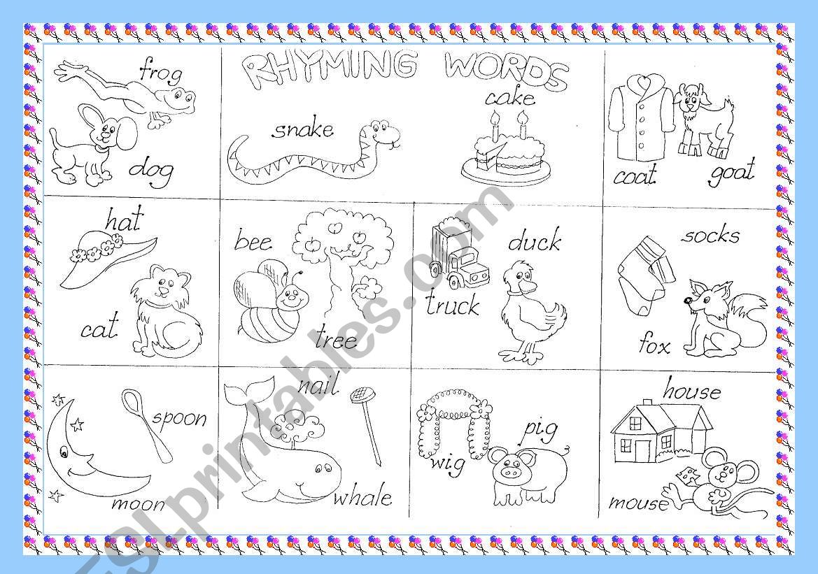 Worksheets Rhyming Words