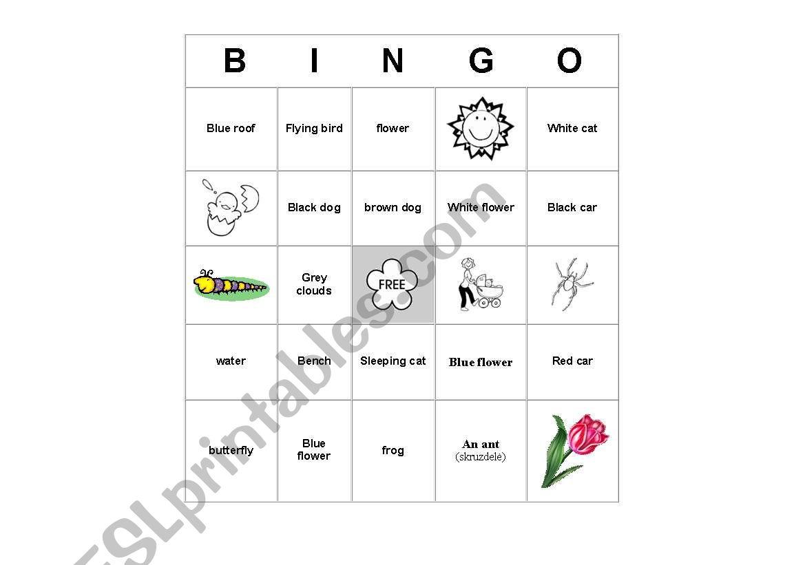 English Worksheets Spring Bingo