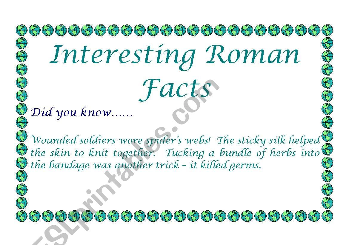 English Worksheets Roman Facts For Display Did You Know