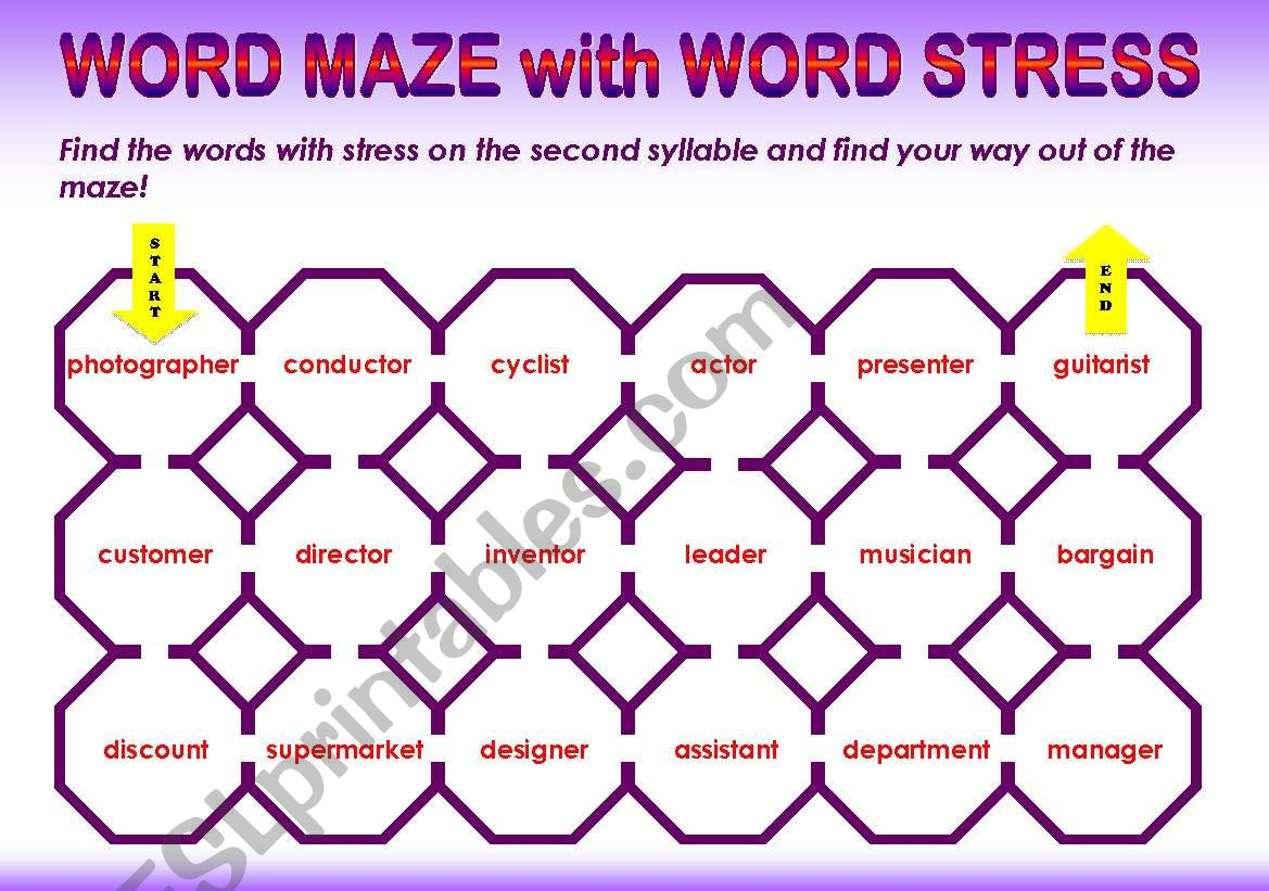 Word Stress Word Maze