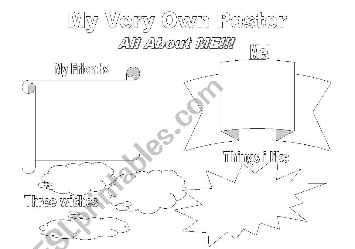 English Worksheets All About Me Poster