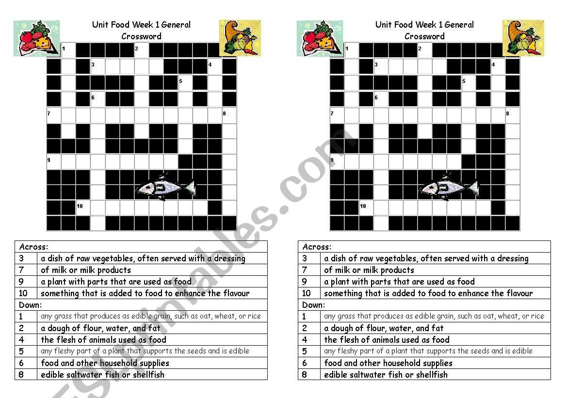 Crossword Food General