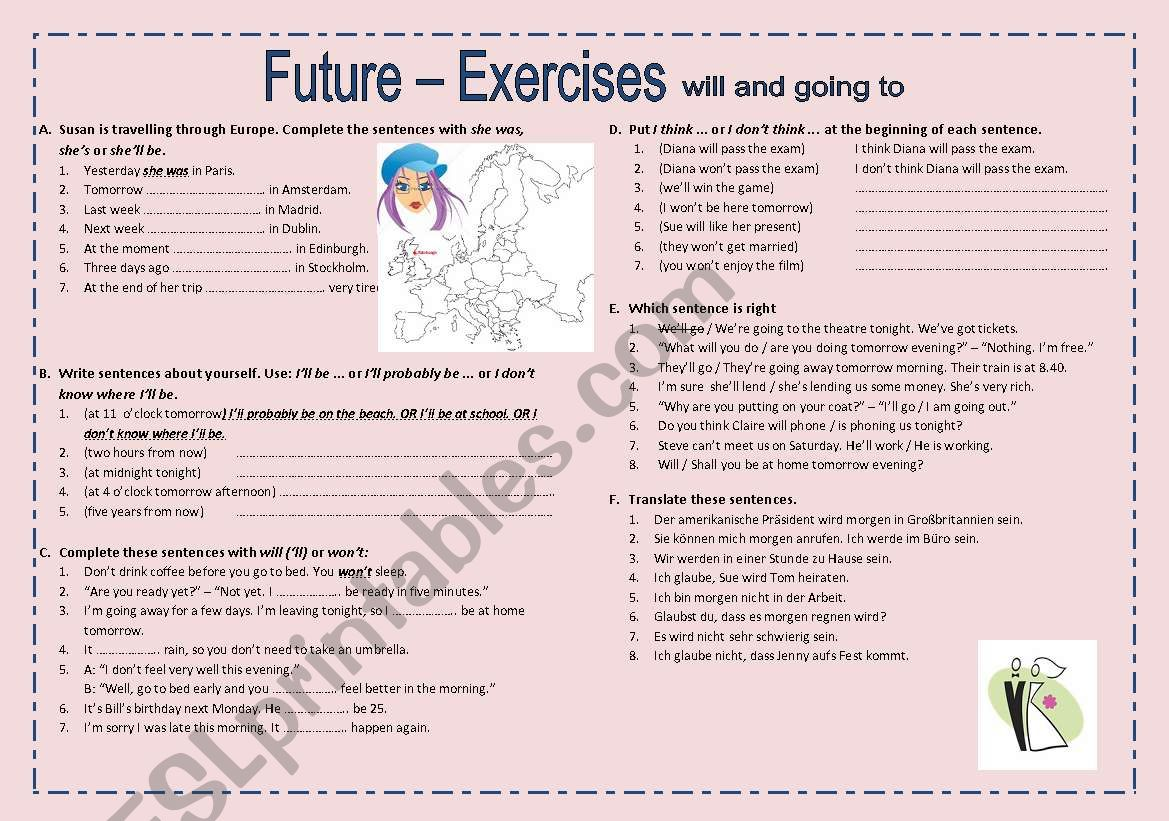 Exercises On Future Will And Going To 2