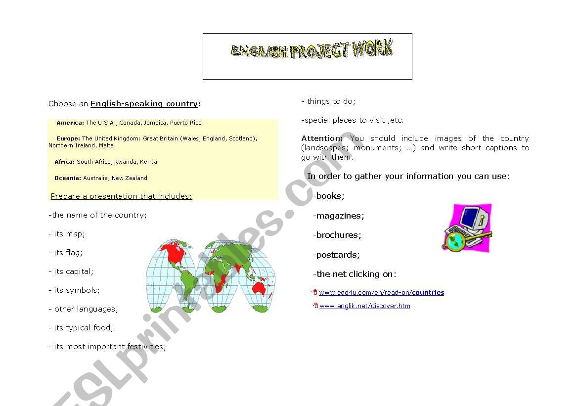 English Worksheets Project Work