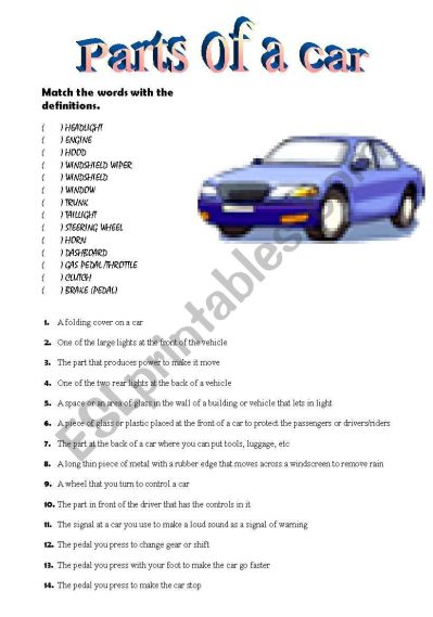 Parts of a car vocabulary practice - ESL worksheet by valh
