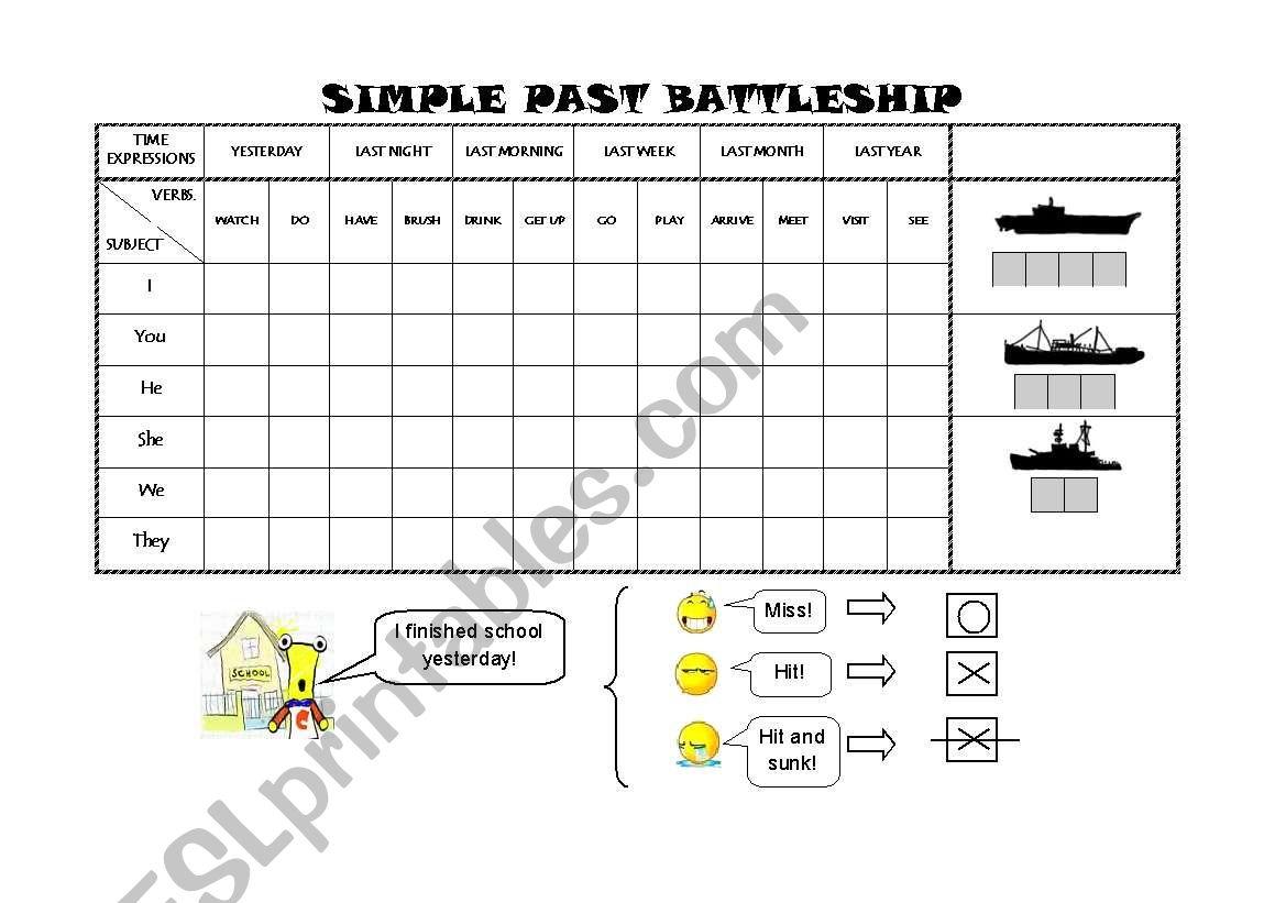 English Worksheets Past Simple Battleship