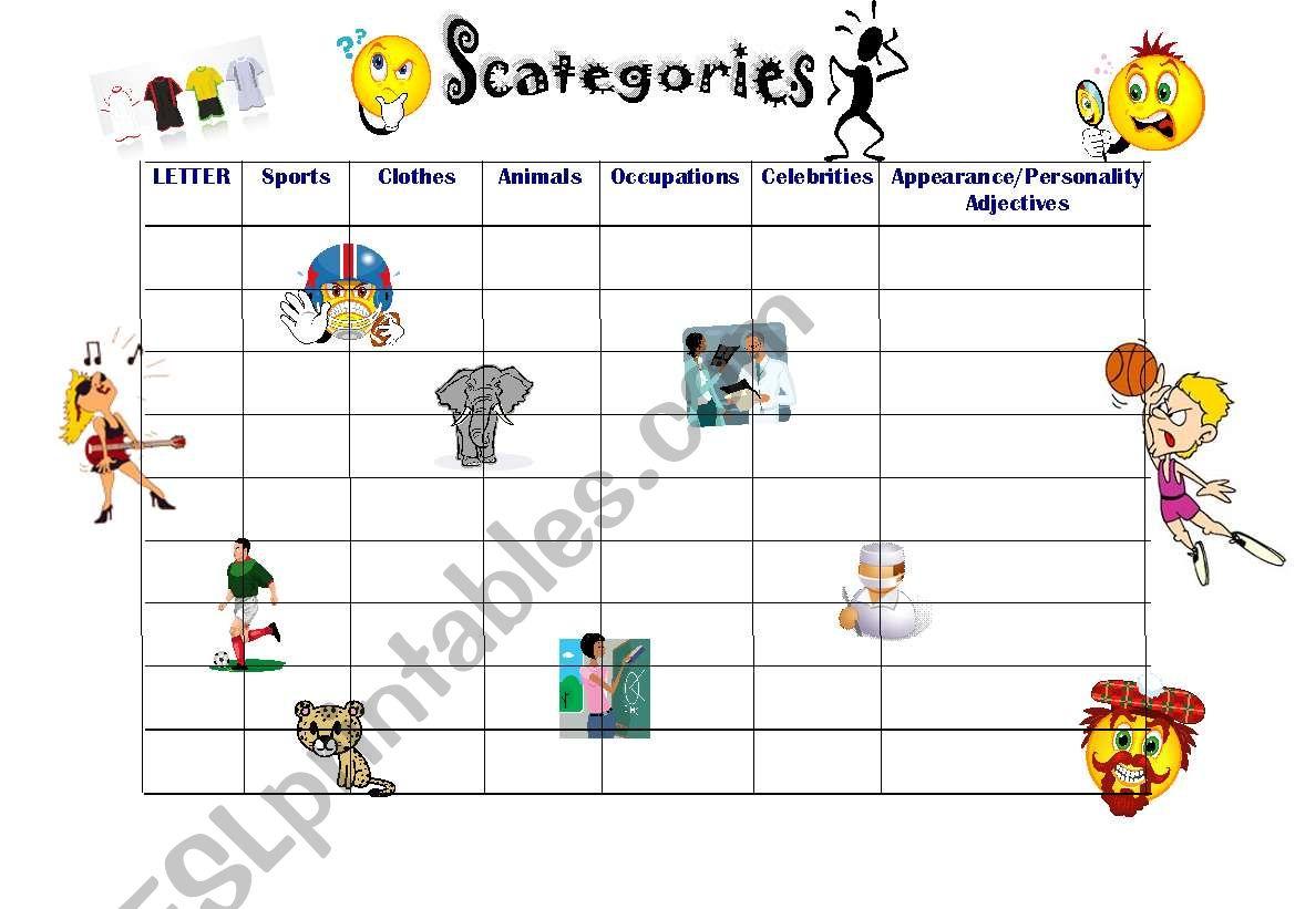 English Worksheets Scategories