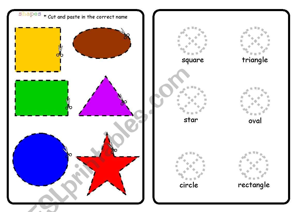 English Worksheets Cut And Paste Shapes