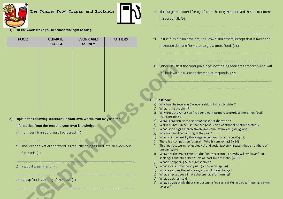 Biofuels And Food Shortages Student S Worksheet With Fce