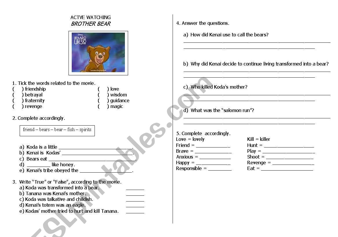 Activity About The Movie Of Disney Brother Bear