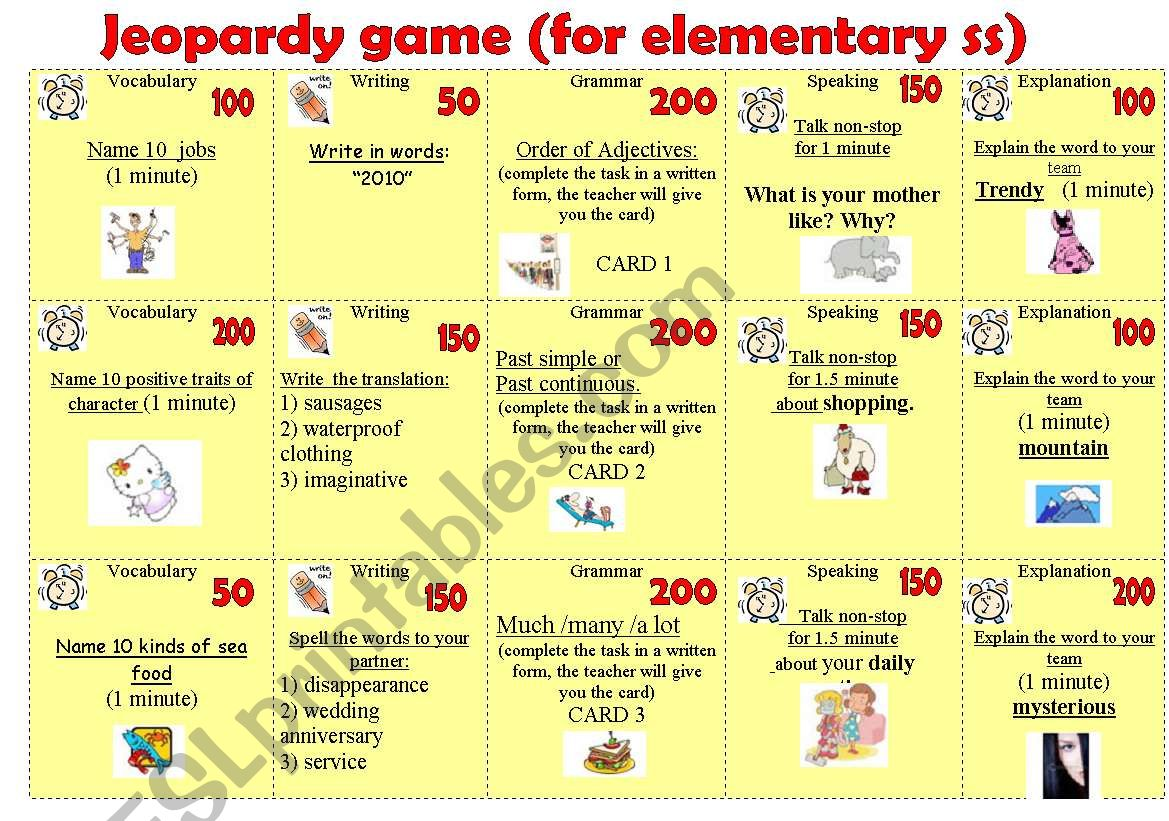 Jeopardy Game For Elementary Students