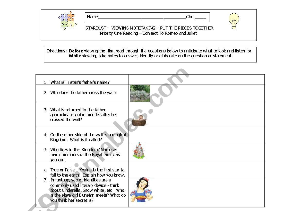 English Worksheets Stardust Viewing And Notetaking